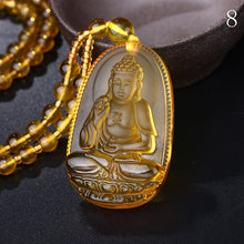 Unique Natural Citrine Carved Buddha Lucky Amulet Pendant Necklace - JustLiveHappyLife