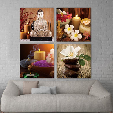 Wall Canvas - For Living Room 4 Piece Modern Printed Buddha