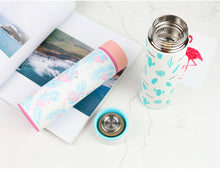 Flamingo Or Cactus Printed Stainless Steel Thermos Insulated Water Bottle For Tea And Coffee, Travel Mug - JustLiveHappyLife