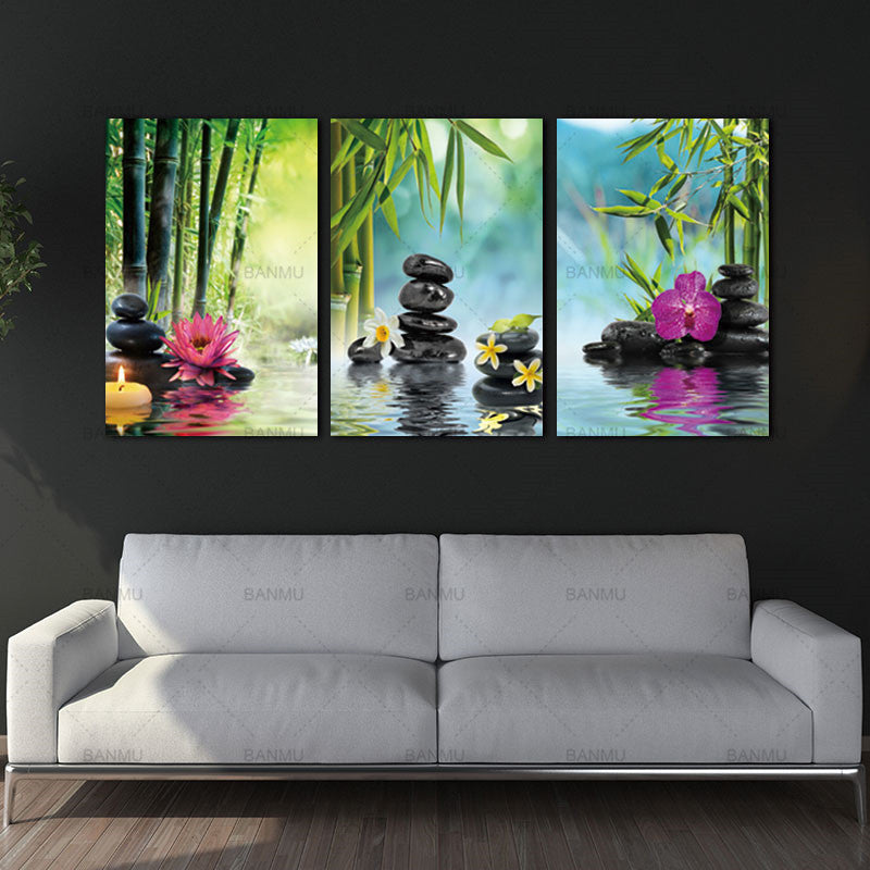 Canvas Painting Wall Art Stone Green Bamboo