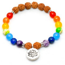 Rudraksha Beads Natural Stone 7 Chakra Balance Lotus Charm Bracelet For Women And Men - JustLiveHappyLife