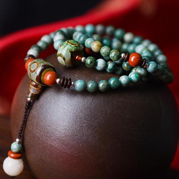 Beaded Bracelet Green Dragon Blood Stone DZI - JustLiveHappyLife