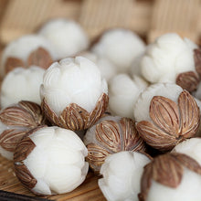 5pcs/lot White Bodhi Seed Craft Beads Wood Carved Lotus Flower Unique DIY Beads Tibetan Buddhist Mala Beads - JustLiveHappyLife