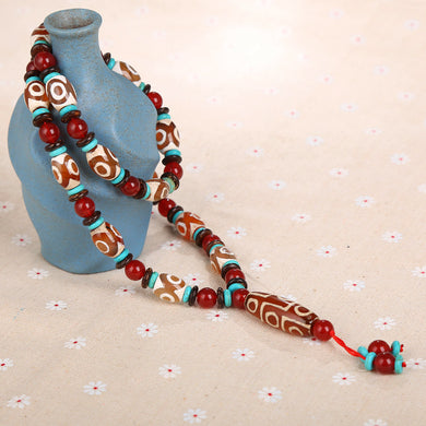 Natural Agate Dzi Beads Necklace