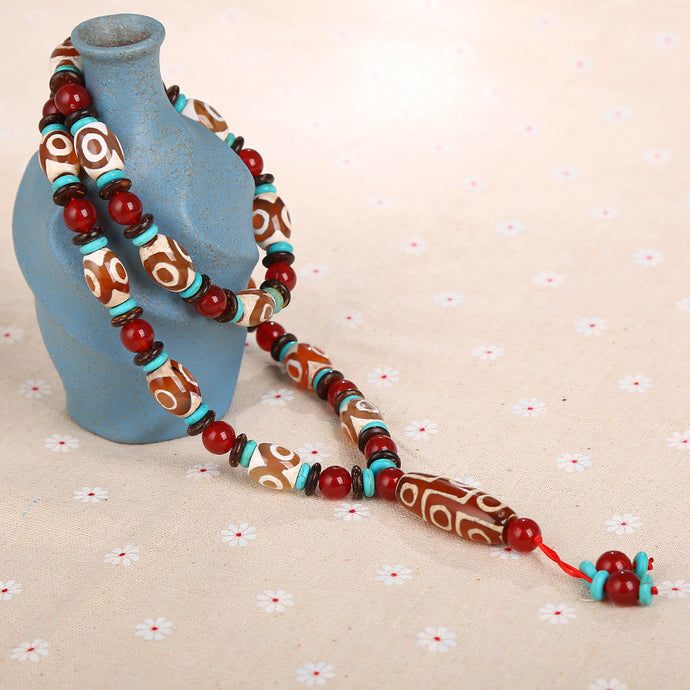 Natural Agate Dzi Beads Necklace - JustLiveHappyLife