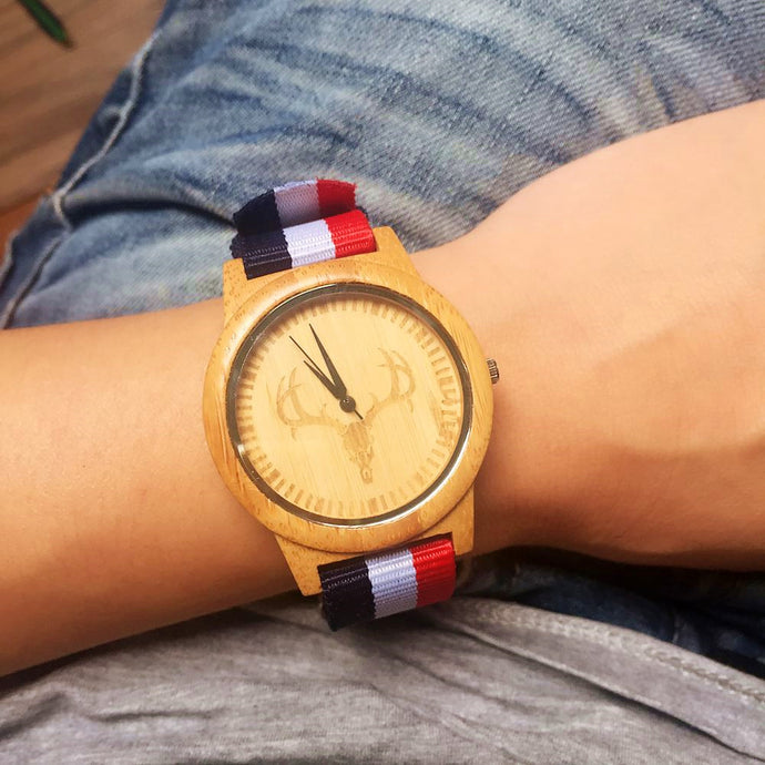 2018 New Wood Watch For Men And Women With Luxury Bamboo Deer Design - JustLiveHappyLife