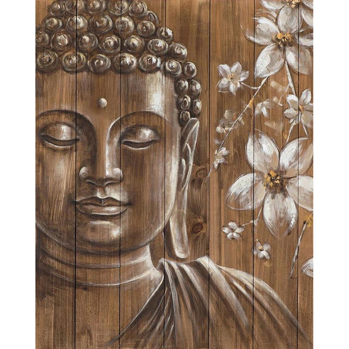 Wooden Buddha with Flowers Diamond Painting DIY