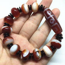 Amazing Red Agate Bracelet - Tibetan 9 Eyes Dzi Bead