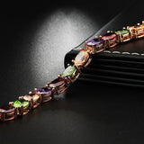 Women's Fashion Multi-color Chain Bracelets Rose Gold Bracelet With Crystal Cubic Zirconia Jewelry