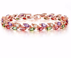 Top Quality Multi-color Exquisite Rose Gold Bracelet Austrian Crystal Cubic Zirconia for Women