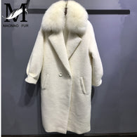 Alpaca Coat High Quality Warm Wool Coat New Long Jackets Women's Winter Cashmere Coat with Large Genuine Fox Fur Collar