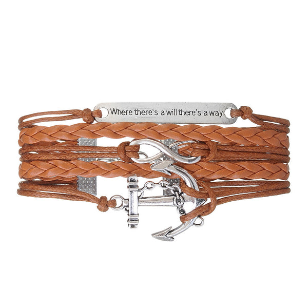 Love & Friends Anchor Bracelets & Bangle For Men Women  Wrap Jewelry with Multi-layer Leather Bracelet Jewelry