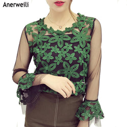 Fashion New Spring Embroidery Floral Shirt Women Trendy Blouse Elegant Tops Perspective mesh Top Two-piece Suit