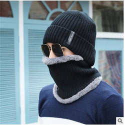 Unisex Outdoor Warm Hedge Hat And Collar. Thick Winter Knitted Wool Winter Hats for Men And Women