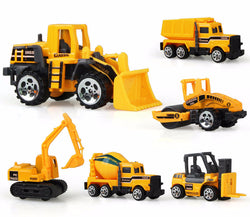 6 Models Diecast Mini Alloy Construction and Engineering Vehicles and Dump Truck Model Classic Toy Gift