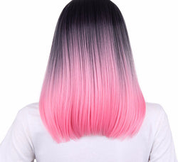 Pink Color Synthetic High Temperature Fiber  Short  Straight Hair Wigs