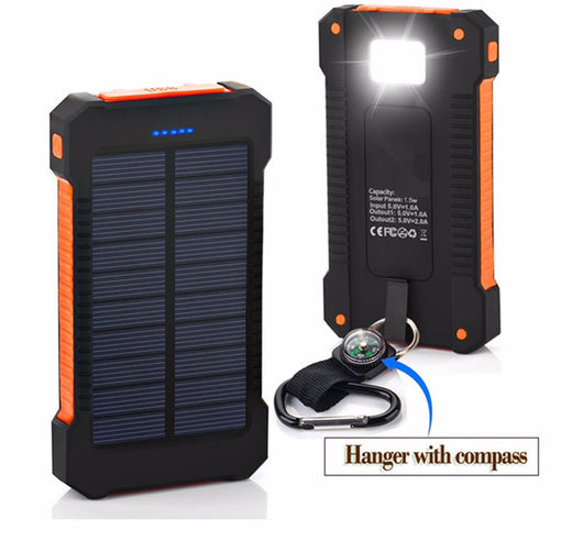 Waterproof Solar Power Bank with Dual USB Portable Solar Charger Battery with LED Light&Compass for Universal phone