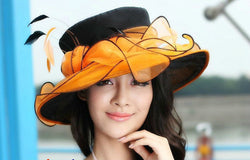 New Arrival Elegant Women Hat Wedding Dress 2 Tone Flower Wide Brim Summer Dress Fashion Accessories