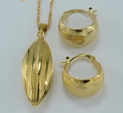 Jewelry Pendant Necklace and Earrings  Gold Color Bridal Wedding Jewelry