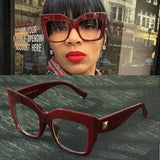 HOT NEW Fashion Frame Eyewear High Quality Retro Cat Eye Oversized Eyeglasses Burgundy Black