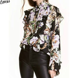Black Floral Print Ruffle Trim Chiffon Shirt Women Long Sleeve Stand Neck Buttons Up Front 2017 New Street Style Top