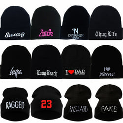Men and Women's Embroidery Knitted Wool Acrylic Cap Hip-Hop Beanies Hat
