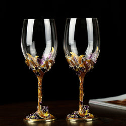 High-grade Crystal Champagne Flutes Stand Metal with Enamel Creative Style Goblet Glass Wedding Birthday Gifts