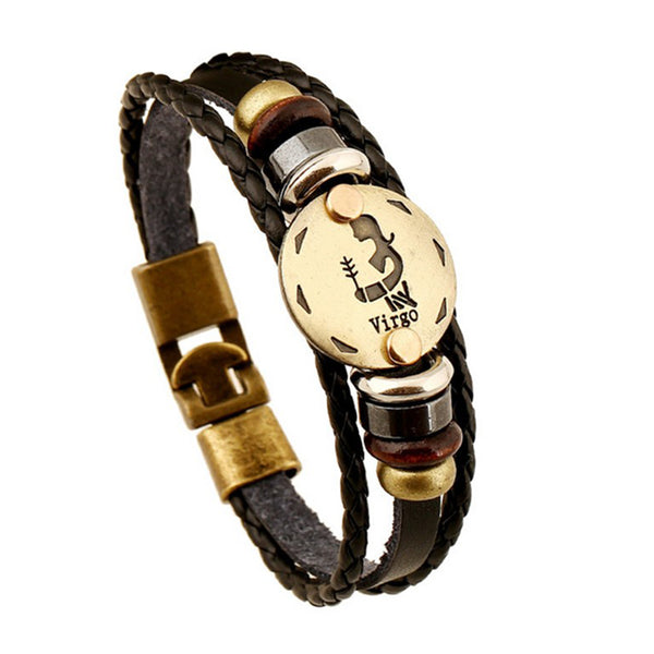 Genuine Leather 12 Constellations Anchor Bracelet Braided Vintage Punk Bangle Lover Couple Bracelets Jewelry