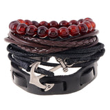 Multi-layers Punk Rocks Leather Bracelets Men Or Women Charm Anchor Bracelets Jewelry Accessories 4 pcs Set