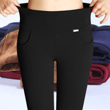 Winter Pencil Pants for Women  Sportswear and Office Thick Warm Fleece High Waist pencil pants Stretch Trousers Plus Size Leggings