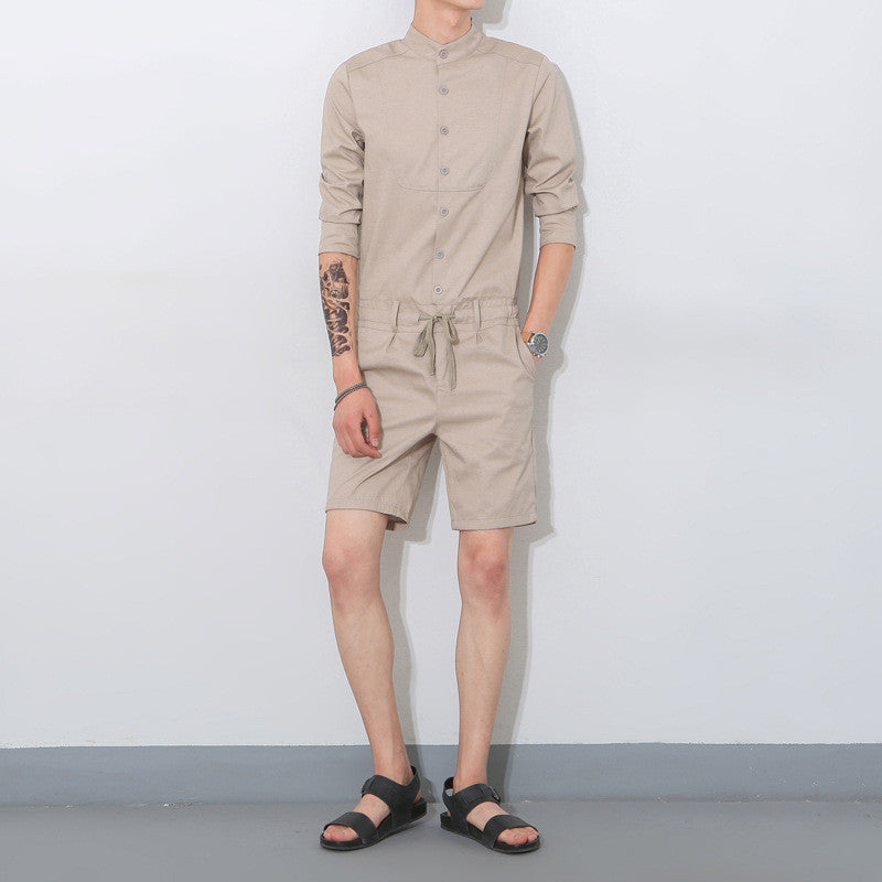 1253f1821fe8 Hip Hop Fashion Men s Long Sleeve Jumpsuit Casual Single Breasted Shir –  Casiaba