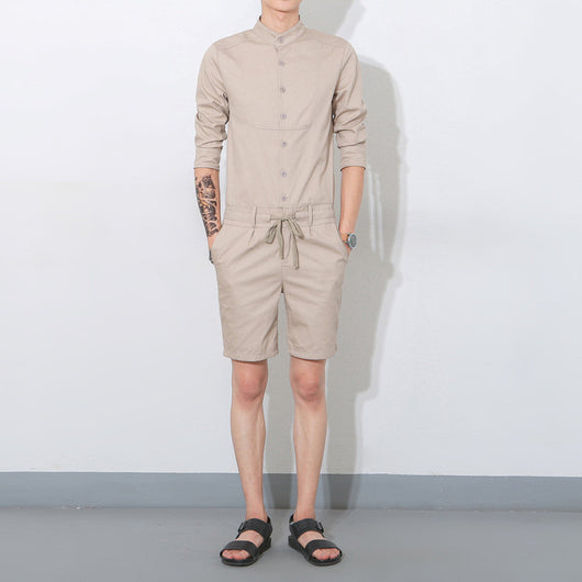 c2109e83aef ... Hip Hop Fashion Men s Long Sleeve Jumpsuit Casual Single Breasted Shirt  Short Pants Overalls Drastring Waist ...