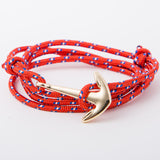 High Fashion Alloy Anchor Bracelet with Multi-layer Leather Risers Vintage Bracelets for Women Men Friendship Bracelet