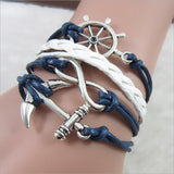 New Fashion Rudder Retro Weave Multi-Layer Leather Anchor Bracelets & Bangles For Women