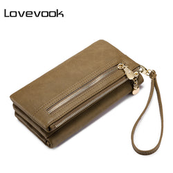 New Wallet Female Purse with Wrist Strap, Double Zipper Multifunctional Coin Wallet Card Holder