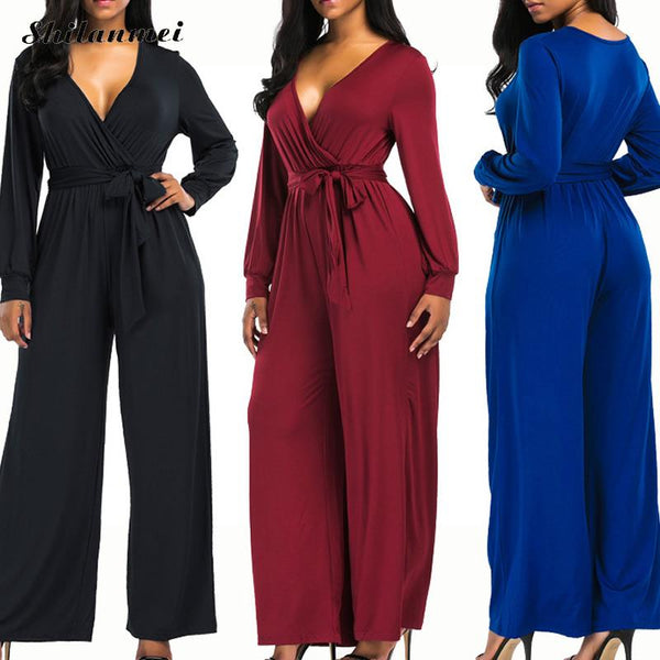 Winter Rompers Womens Jumpsuit  V-neck High Waist Long Sleeves Loose Club Pants with Drawstring Overalls