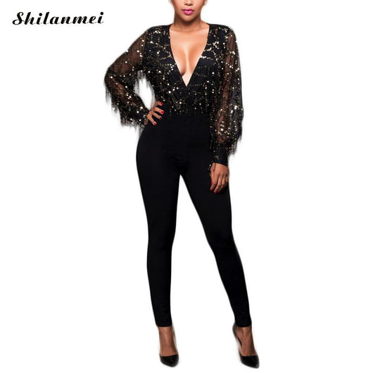 a2a61f93f74f Black High Fashion Rompers Womens Jumpsuit Sequin Mesh Sleeves with Tassels  and Club Pants Romper