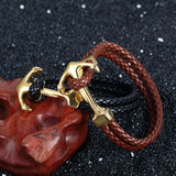 Genuine Handmade Braided Vintage Leather  Anchor Bracelets Unisex Stainless Steel Jewelry