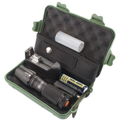 Newest LED Light Brand New  X800 Zoomable XML T6 LED Tactical Police Flashlight+18650 Battery+Charger+Case