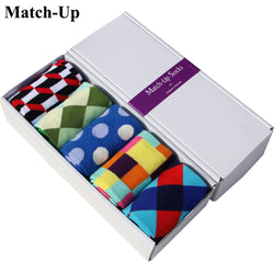 Unisex Dress Socks for Men Women Match-Up Socks  Combed Cotton Brand Socks, Colorful Dress Socks (5 pairs / lot )  no gift box