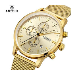 Chronograph men's quartz-watch stainless steel mesh  gold band Multi-function  Watch