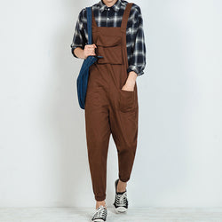 Mens Summer Rompers Casual Pants Overalls Haren Jumpsuits Street Dance 2 Colors Black Coffee Cotton Retro