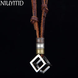 Genuine Leather Men's Necklace  Vintage Adjustable Brown Rope Chain Male Jewelry