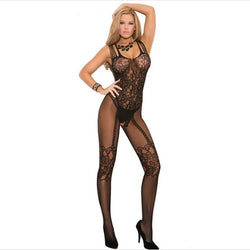New Women Stockings Hot Much-loved Floral Motif Mesh Body Black Stockings full body