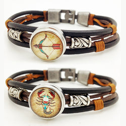 Unisex High Fashion Zodiac Button Bracelet 12 Constellation Horoscope Anchor Leather Bracelet Bangle Men Women