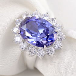 Blue Zoisite-Stone 6 Carat 925 Sterling Silver Wedding Ring Fashion Jewelry Accessories Ship From USA