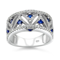 Haute Sterling Blue Zirconia Genuine 925 Sterling Silver Wedding Ring Jewelry For Women