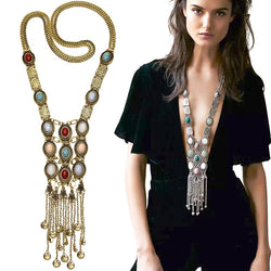 Vintage Bohemian Long Necklace Multi-color Stone Boho Necklaces For Women Costume Jewelry