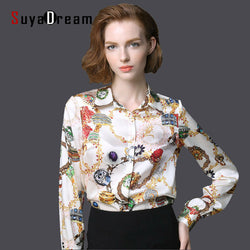 Haute Pure Mulberry SILK blouse Women Long Sleeve Print  Office lady Blouse