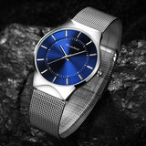 Readeel Men Watches Top Brand Luxury Blue Dial Ultra Thin Date Clock Male Steel Strap Casual Quartz Watch Men Sports Wrist Watch